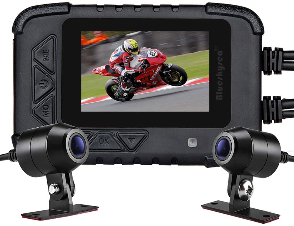 """Motorcycle Dash Camera, Blueskysea DV688 Sportbike Dashcam 1080p Front Rear Dual Lens Waterproof 130° Angle with 2.35"""" LCD Screen Night Vision"""