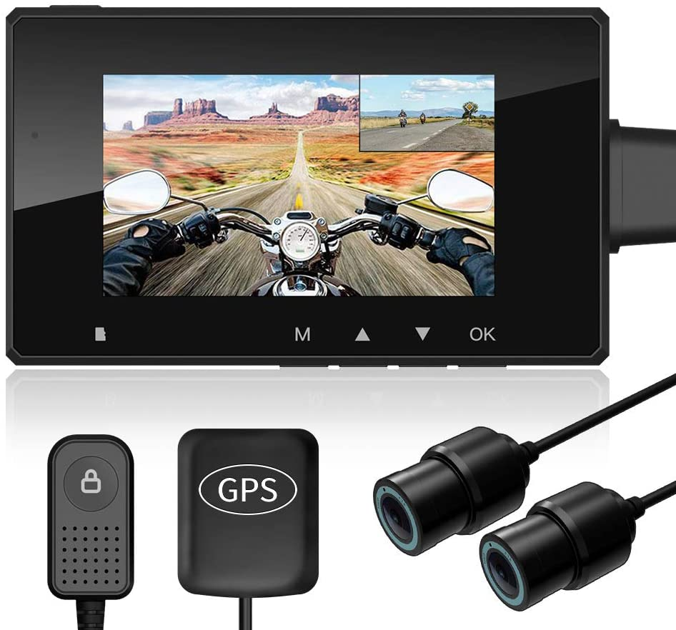 """Motorcycle Recording Camera System HaloCam M1, 1080P Dual Lens Dash Cam Dvr, Rear View Sports Action Camera, Waterproof Lens, Video Driving Recorder with WiFi&GPS, 2.7"""" LCD, 155 Degree Angle, 256G Max"""