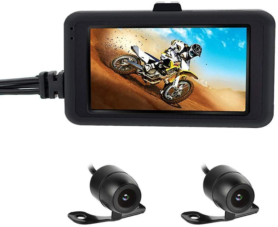 """OBEST Motorcycle Dash Cam,Biker's Camera 720p Dual Lens Video Recorder, Motorcycle Sports Action Camera Front and Rear, 3"""" LCD Screen 120 Degree Angle Night Vision(Not Waterproof)"""