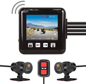 VSYSTO All Waterproof, 160 Degree Fish Eye, Motorcycle Dash cam Recording Camera DVR, with 2'' Screen, IMX323, Dual 1920x 1080P Front and Rear Camera.
