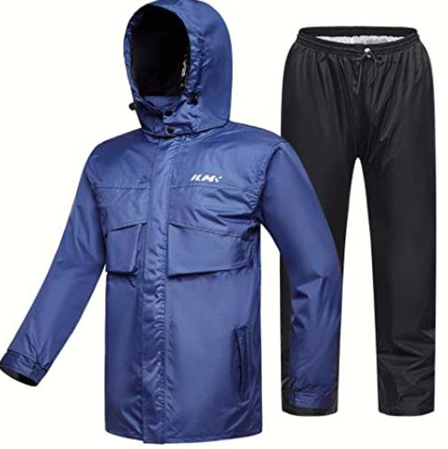ILM Motorcycle Rain Suit Waterproof Wear Resistant 6 Pockets 2 Piece Set with Jacket and Pants Fits Men